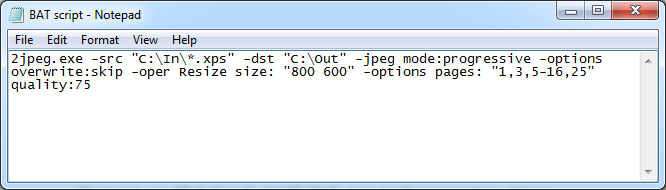 Batch file to set automated conversion of XPS files to JPG with different parameters