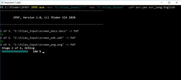 Folder-to-folder file conversion to PDF with OCR via 2PDF
