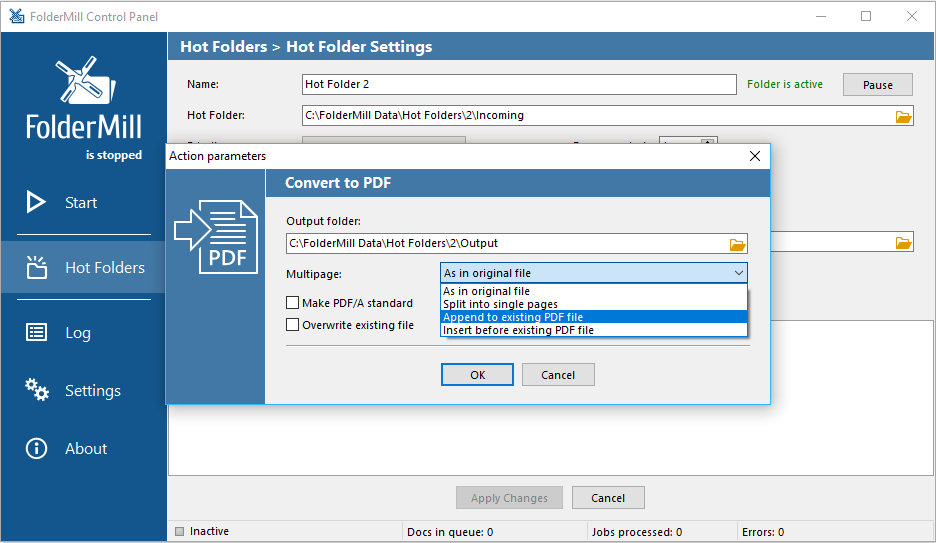 FolderMill creates PDF automatically in real time via special Hot Folders