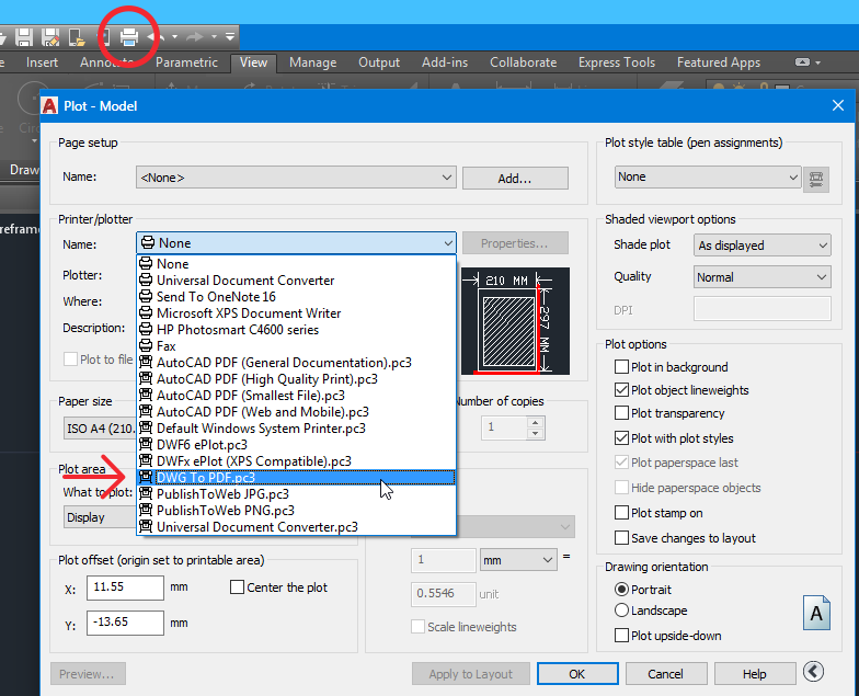 Save DWG to PDF in AutoCAD (preset)