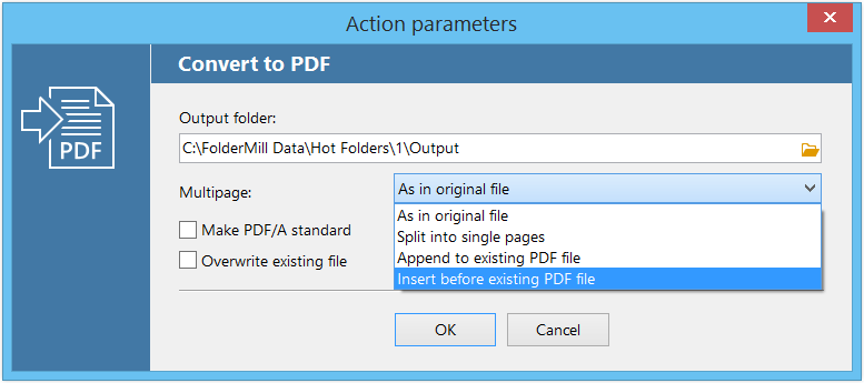 Joining PDF with FolderMill - insert new files before or after existing PDF