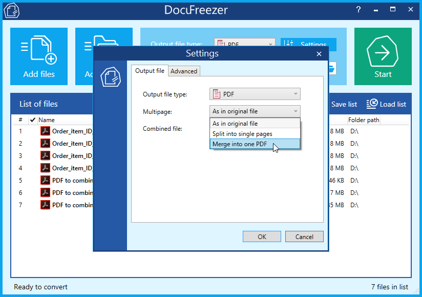 Merge .pdf (PDF) files into one with DocuFreezer – free PDF merger