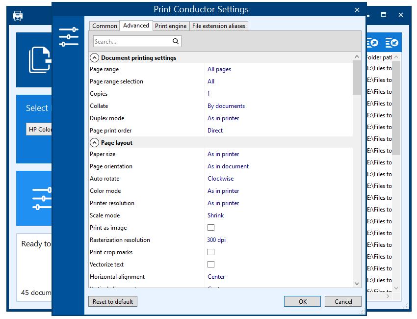 Print Conductor 7.1 - расширенные настройки