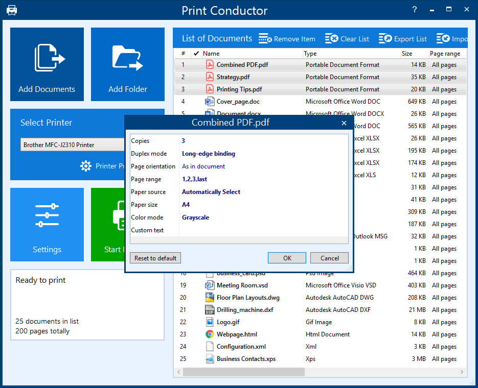 Print Conductor individual item settings