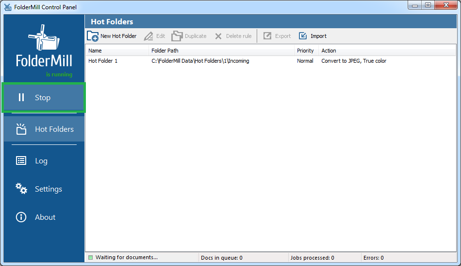 Run FolderMill file processing