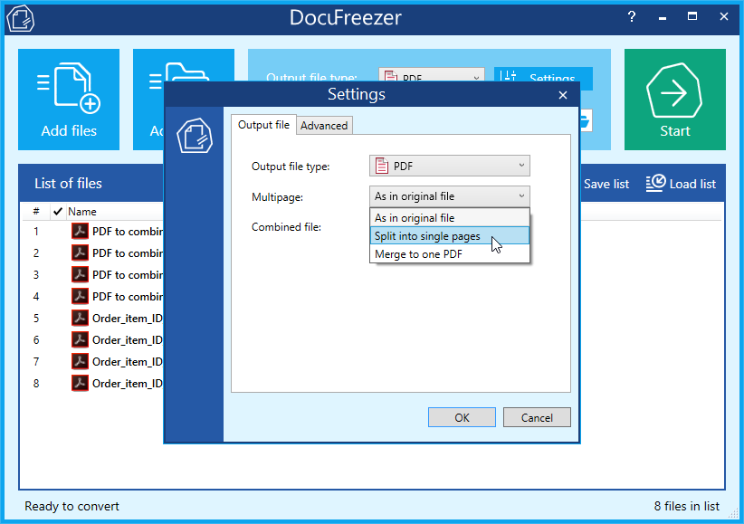 Split .pdf (PDF) files into single pages with DocuFreezer – free PDF splitter