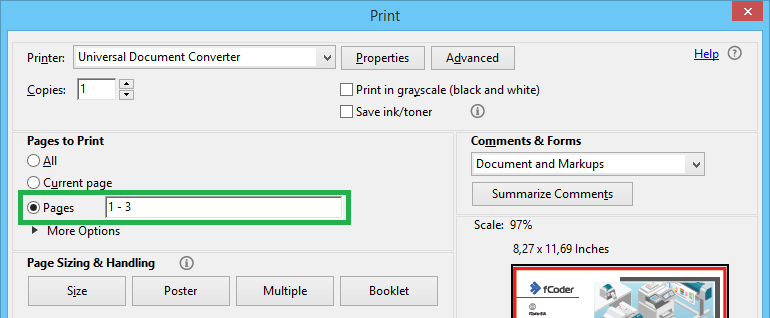 Select page range when splitting PDF