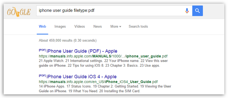 Searching for user guides in Google